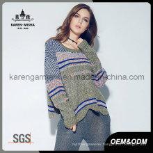 Latest Design 2016 Winter Women Knit Fair Isle Pullover Sweater