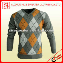 Argyle v neck long sleeve men pullover chinese clothes brands