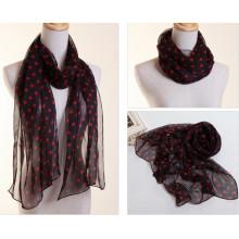 Écharpe en soie de mousseline de polyester de Madame Fashion avec l'impression de points (YKY1003)