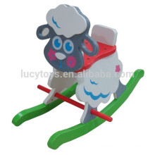 Kids Wooden Animals Sheep Rocking Horse Riding on Toys painted