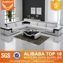 2017 moderne élégant luxe 6 places blanc et noir en cuir coin canapé canapé ensemble conceptions