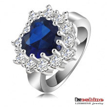 Blue Stone Hearts of Ocean Love Ring (Ri-HQ0050)