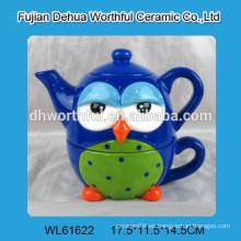 Hervidor de té de cerámica colorido popular del diseño del búho con la taza