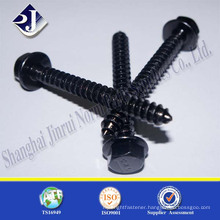 Black carbon steel hex flange head drywall screws