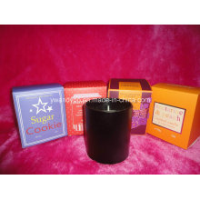Vela de cristal negra del tarro en el empaquetado de la caja de regalo