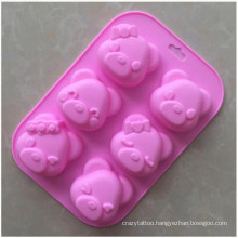 Spot Wholesale Soft and Non-Fading Expression Bear Silicone Cake Mold Rice Cake Mold Complementary Food Steamed Cake Mold