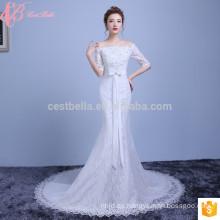 Blanco satinado encaje nupcial de mangas sirena de fábrica vestido de novia directa