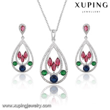 63924 Fashion Elegant Colorful Cubic Zircon Heart-Shaped Wedding Jewelry Set in Rhodium Color
