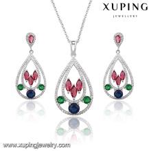 63924 мода элегантный красочные кубический циркон в форме сердца Свадебный комплект ювелирных изделий цвета родия
