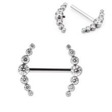 Personalized Titanium Bezel Set CZ Stone Cluster Top Internally Threaded Sexy Nipple Ring