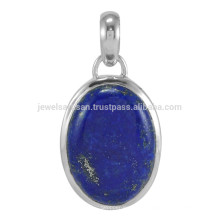 Lapis Lazuli Gemstone & 925 Sterling Silver Bezel Set Colgante con Encanto para toda la ocasión