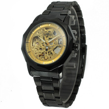 winner alloy case watch with stainless steel band men watch