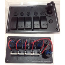 El panel de interruptor de eje de balancín de aluminio de 5 cuadrillas / el zócalo de poder del USB para el barco / marina / el rv