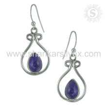 Beautiful silver earring amethyst gemstone 925 sterling silver earrings jewellery exporters