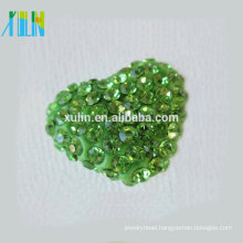 heart-shaped Gradient Polymer Clay Paved Crystal rhinestone for rhinestone jewellery Beads
