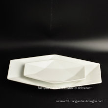 Hotel White Custom Shape Ceramic Plate