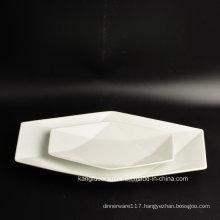 Hotel White Custom Shape Ceramic Plate