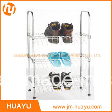 Rayonnage de chaussure de support de chaussure de fil plaqué par chrome de 3 niveaux