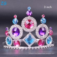 Corona cristalina coloreada de la reina de la tiara de la boda de la tiara de la corona del desfile para la venta