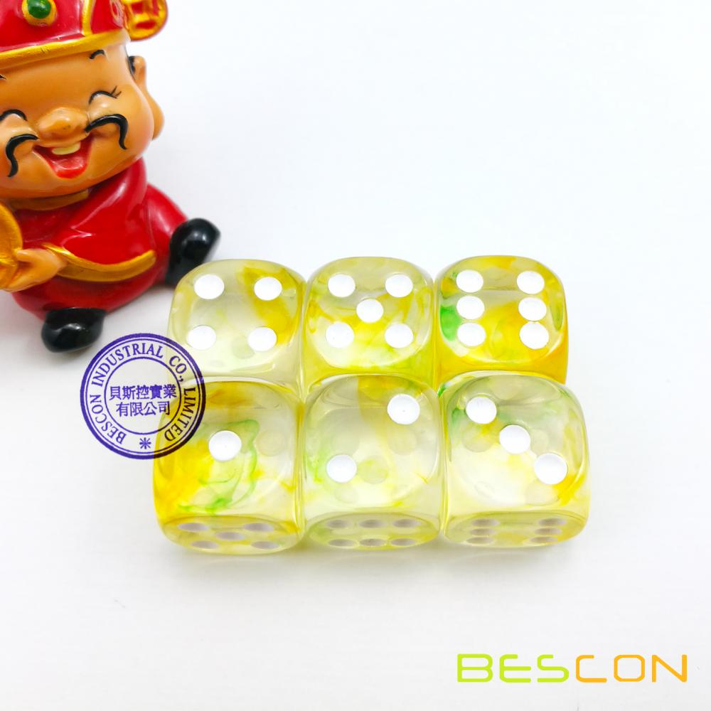 Bescon Two Tone Six Sided Nebulous Dice Set of 6, Crystal Clear with Green and Yellow Nebula D6 16MM, 6pcs Dice Set