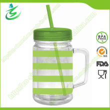 24 Oz BPA Free comme / PS Plastic Mason Jar with Straw