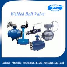 Mango de válvula de bola de soldadura de acero fundido y engranaje de tornillo sin fin para suministro de agua