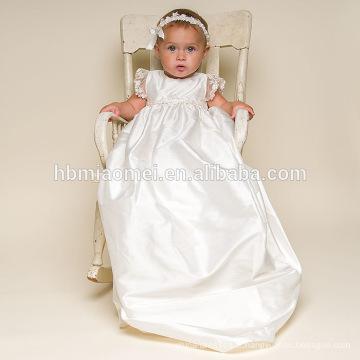 Robes blanches de satin de fleurs pour tout-petits avec le chapeau Robes de baptême infantiles occidentales de bébé