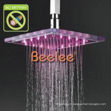 23 * 23cm a mené la douche aérienne de verre de précipitations de LED hydroélectrique (Qh320f)