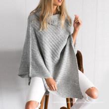 Venta al por mayor Stand Collar Poncho Pullover Sweater para Mujeres