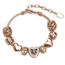 Adorer Open Love Heart and Twisted Charm Adjustable Bracelet with First Grade Crystal