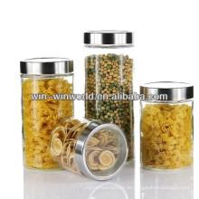 Luftdichtes klares Großhandelskanister-Borosilikatglas-Glas mit Metalldeckel