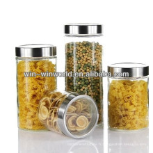 Airtight Clear Wholesale Cannister Borosilicate Glass Jar With Metal Lid