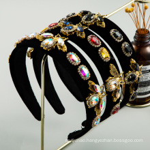 Bandeau Opaska Vintage Alloy Rhinestone Bee Headband Luxury Hair Accessories Baroque Velvet Hairband for Women Girl Dropshipping Wholesale