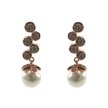 Elegante 925 Sterling Silber Dangle Ohrringe mit Perle