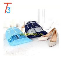 Bolsas de almacenamiento portátiles con organizador de zapatos de viaje con cordón, ventana de visualización, dos tamaños y colores, lindo y duradero