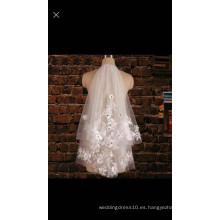 2016 Yiai flores elegantes Appliques velo de la boda velo nupcial personalizado