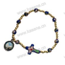 Alta qualidade moda Cloisonne pulseira com Cloisonne cruz, rosário pulseira