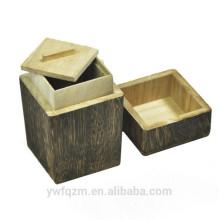 Lata de té de madera hecha a mano