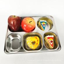 Servidor de comida rectangular de acero inoxidable 5 en 1 plato de comida dividido con partición