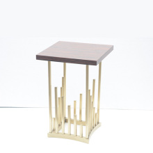 Gold stainless steel wooden top side table