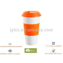 Tasse de café de voyage de porcelaine de 13oz avec le couvercle de silicone