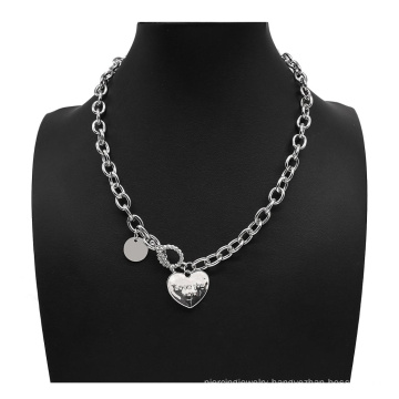 Vintage Silver Color Chain Heart Pendant Punk Hip Hop Metal Rock Long Chain Necklaces for Women Men Party Jewelry Gift
