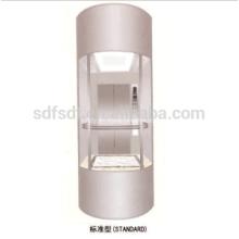 Ascenseur panoramique / visuel avec voiture circulaire, 1.0m / s, 1000kg, 1500kg
