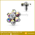 316L Surgical Steel Jeweled Daisy CZ Flowers Internally Threaded Eyebrow Piercing