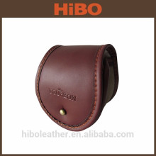 Genuine leather and artificial wool fly fishing casting reel case