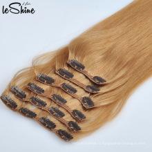 Top Qualité Clip Cheveux Extensions De Cheveux Humains Alignés Meilleure Vente