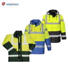Bunte Regenschutz-wasserdichte Verkehrs-Jacken-Winter-Hochleistungssicherheits-Regenjacke der Klassen-3 mit reflektierendem Band