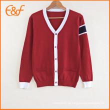 Middle School Uniform Designs Pullover V-Ausschnitt Strickjacke für Schulen