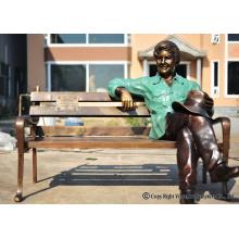 Bronze Gießerei Bronze Kinder auf Bank Skulptur für den Garten