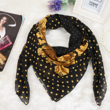 100%polyester custom printing dubai muslim scarf with gold design